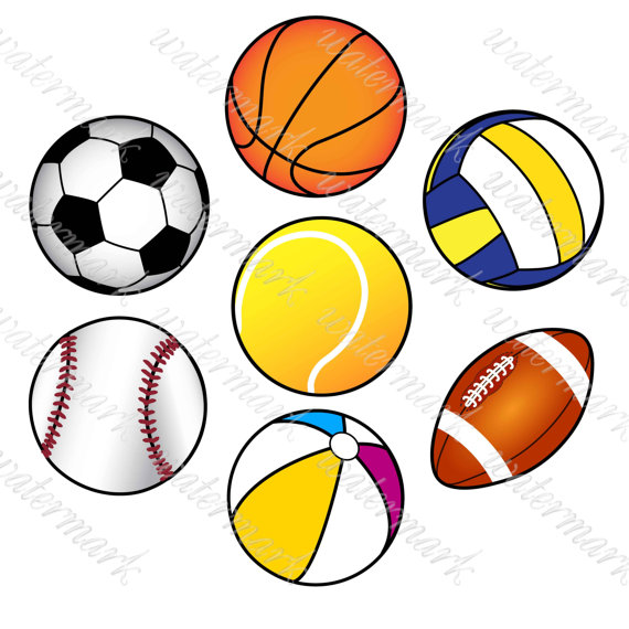 570x570 Ball Clipart Sport Clipart Digital Sport îò SquirrelArtDesign