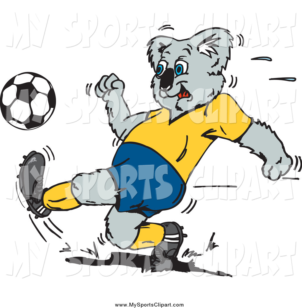 1024x1044 Sports Clip Art of a Sporty Koala Kicking a Soccer Ball During a