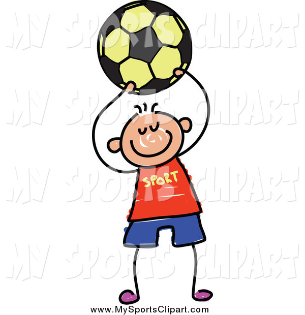600x620 Sports Clip Art of a Stick Boy Holding up a Soccer Ball by Prawny