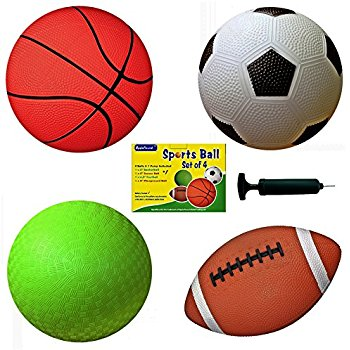 350x350 Set Of 4 Sports Balls With 1 Pump, 5 Soccer Ball, 5