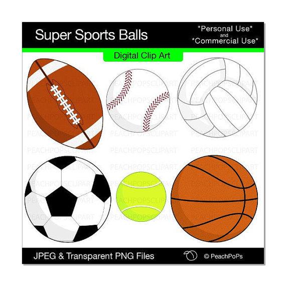 570x570 Clip Art Digital Basketball Soccer Tennis Volleyball Baseball