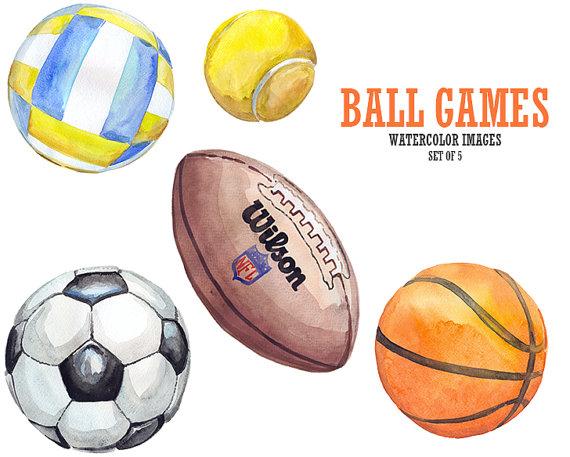 570x457 Football Clipart. Watercolor Clipart. Sport Clip Art. Basketball