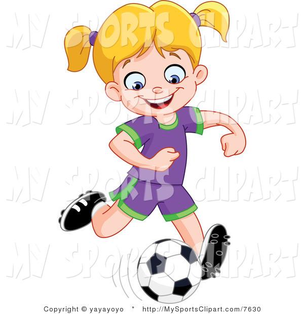 600x620 Girl Hitting Soccer Ball Clipart