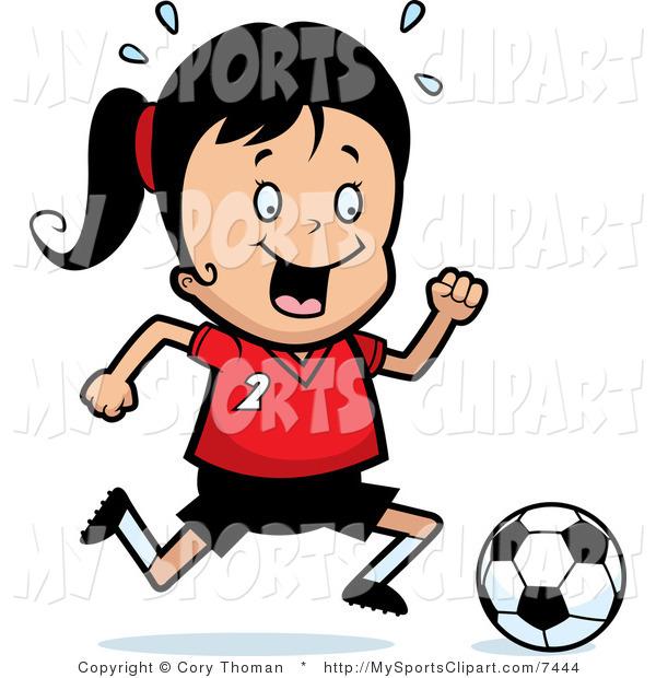 600x620 Sports Clip Art Of A Soccer Girl Running After A Soccer Ball By