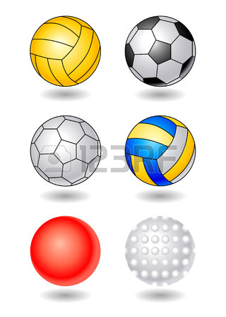 320x450 Hockey Puck, Volleyball And Soccer Balls In Cartoon Style