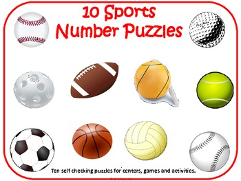 350x263 Sports Puzzles 0 10 Matching Balls, Numbers And Number Words Tpt