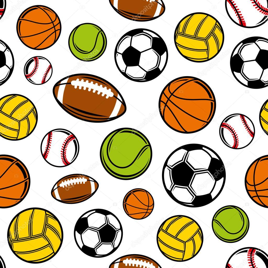 1024x1024 Vector Sports Balls Seamless Background, Sports Equipment Pattern