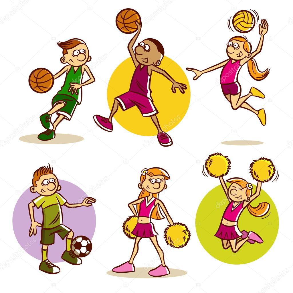 1024x1024 Kids Playing Various Sports Stock Vector Ichbinsam