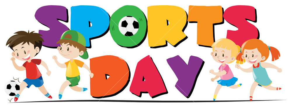 1000x370 Sport Day Theme With Kids Playing Sports Illustration Royalty Free