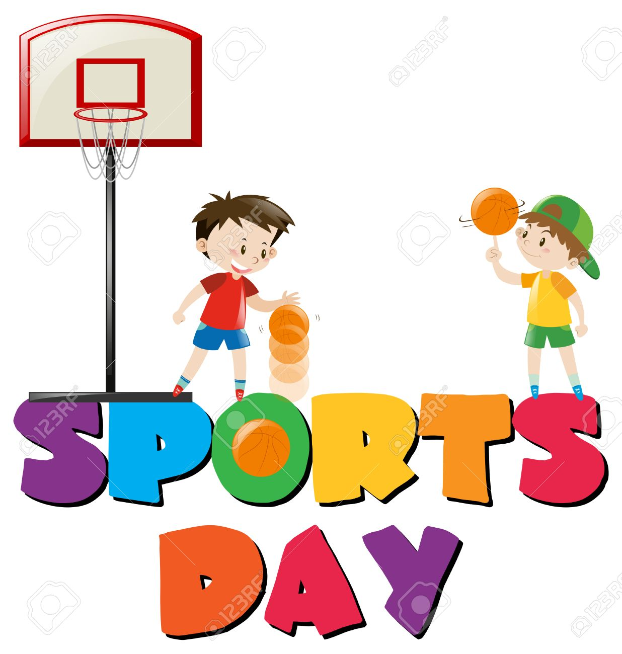 1236x1300 Sports Day Poster With Boys Playing Basketball Illustration