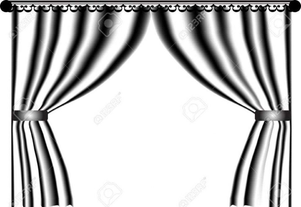970x668 Stage Curtains Clipart Black And White