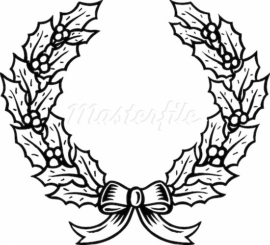 550x500 Christmas Wreath Black And White Clipart