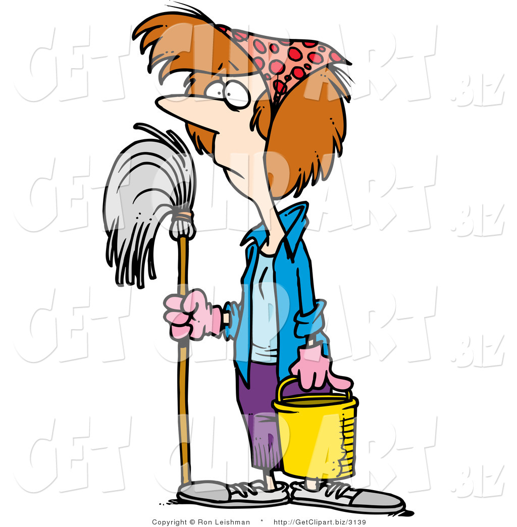 1024x1044 Clip Art Of A Spring Cleaning Housewife With A Mop And Bucket By
