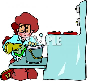 350x326 Royalty Free Clipart Image Woman Cleaning An Oven