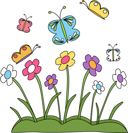 533x550 Spring Flowers And Butterflies Clip Art