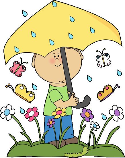 436x550 Boy In Spring Rain Clip Art