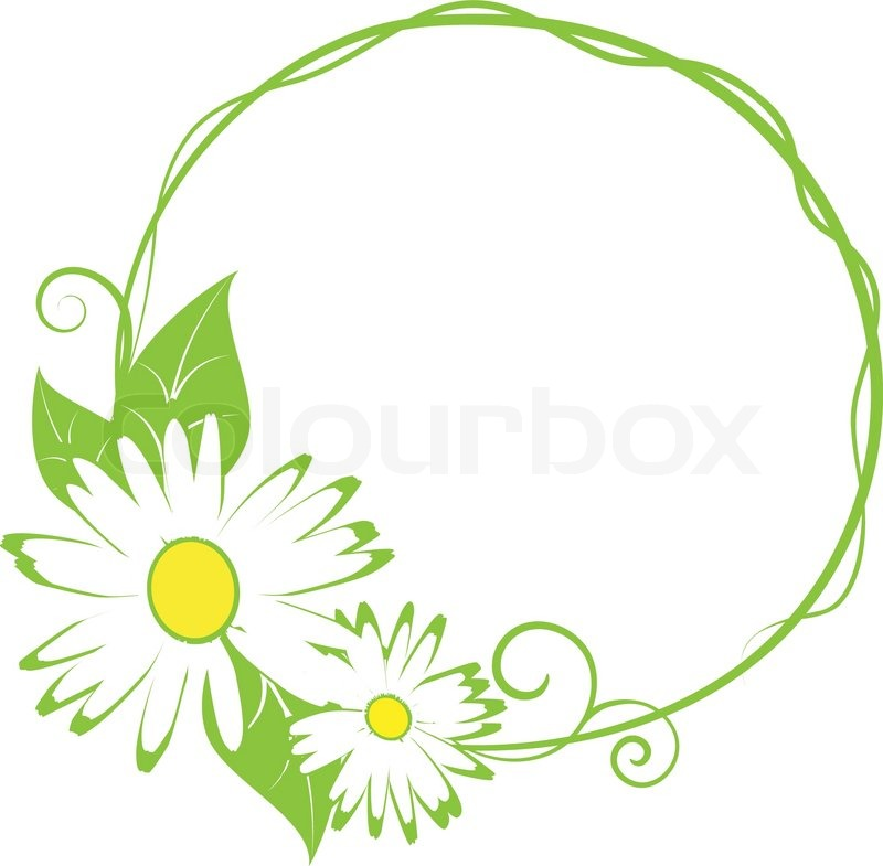 800x785 Funny Spring Floral Bordervector Illustration Stock Vector