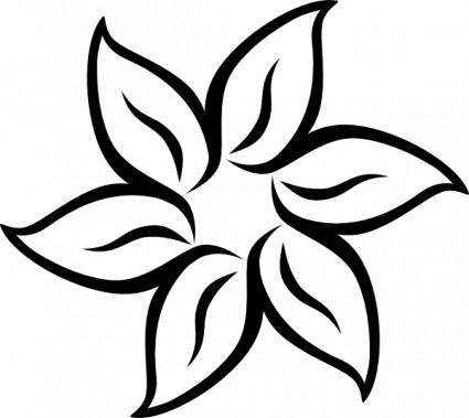425x379 Black And White Clipart Flower