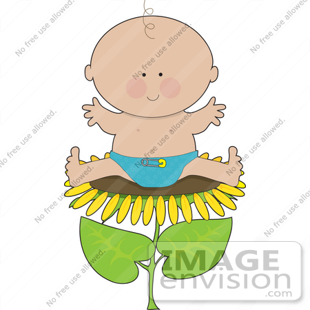450x450 Clip Art Graphic Of A Happy Spring Baby Boy Sitting On A Sunflower