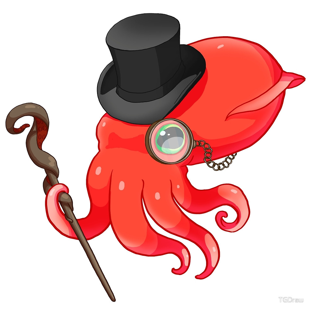 1000x1000 Gentleman Squid By Tgdraw Redbubble
