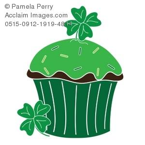 300x300 Clip Art Illustration Of A St Patrick's Day Cupcake