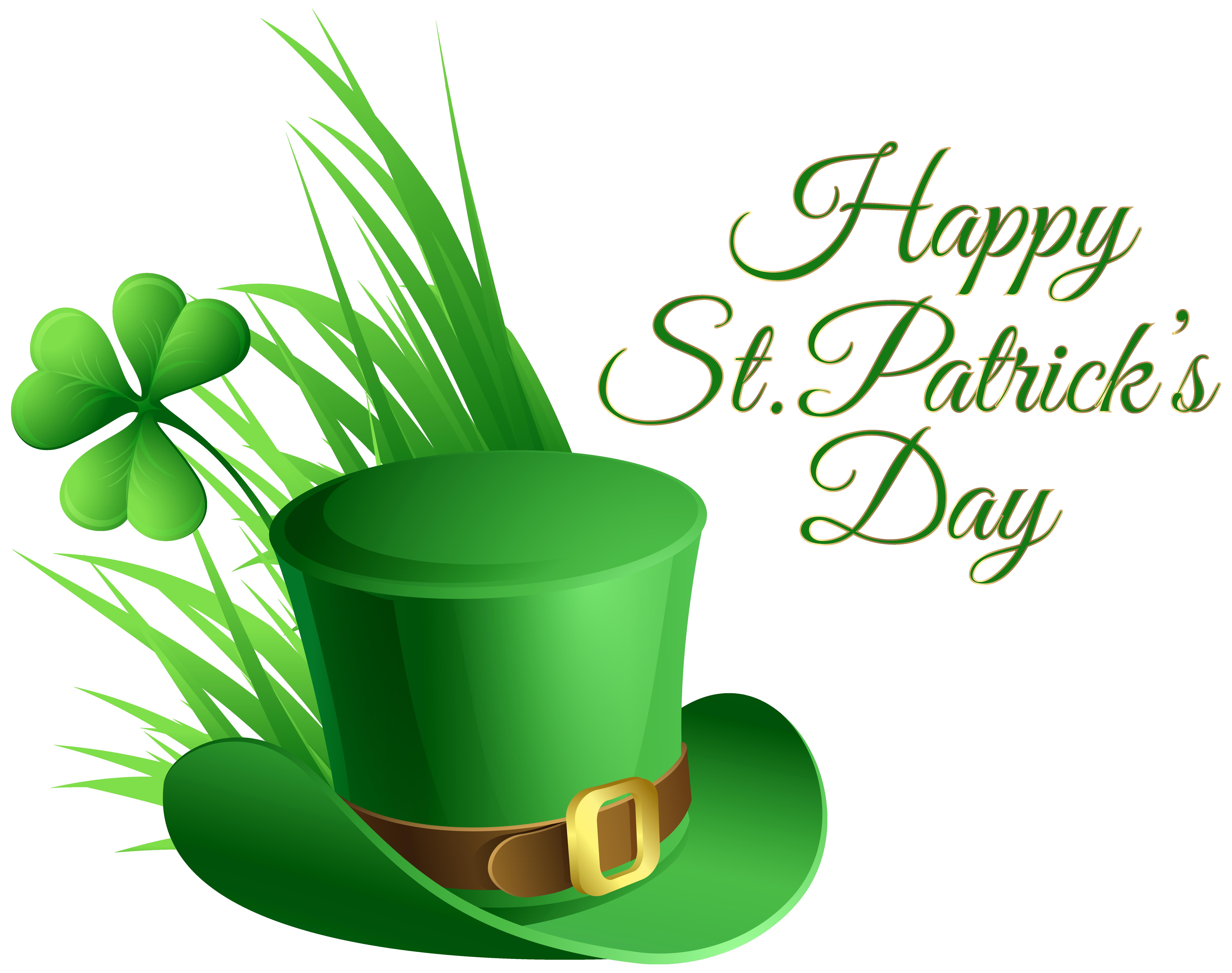 7246x5723 St Patricks Day Hat And Shamrock Transparent Clip Art Image