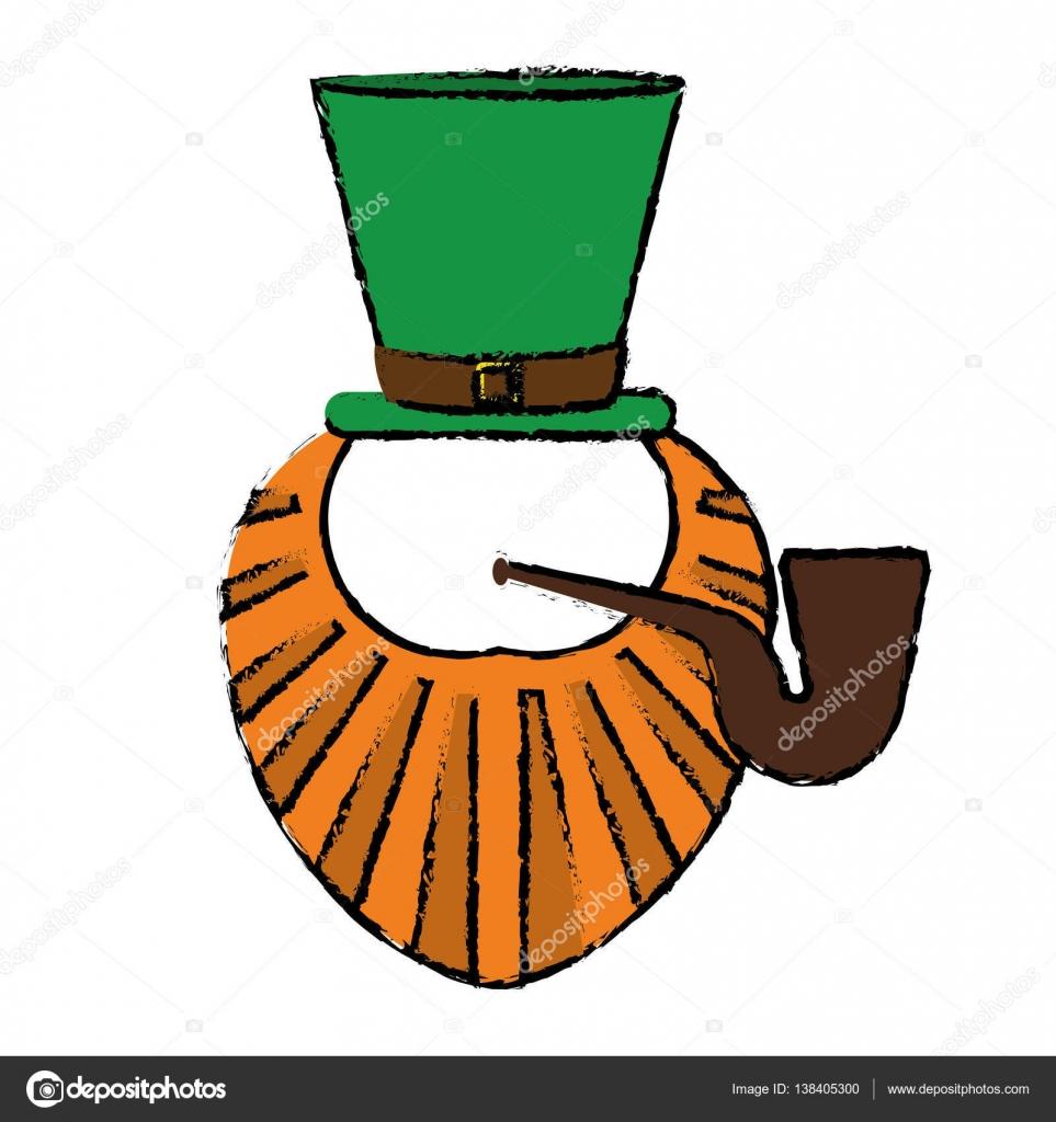 963x1024 Cartoon St Patrick Day Leprechaun Beard Hat And Tobacco Pipe