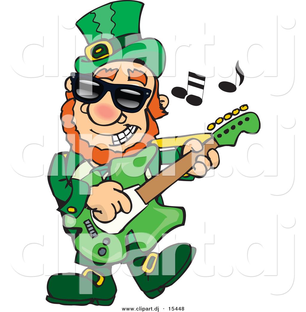 1024x1044 Cartoon Vector Clipart Of St. Patrick's Day Leprechaun Playing