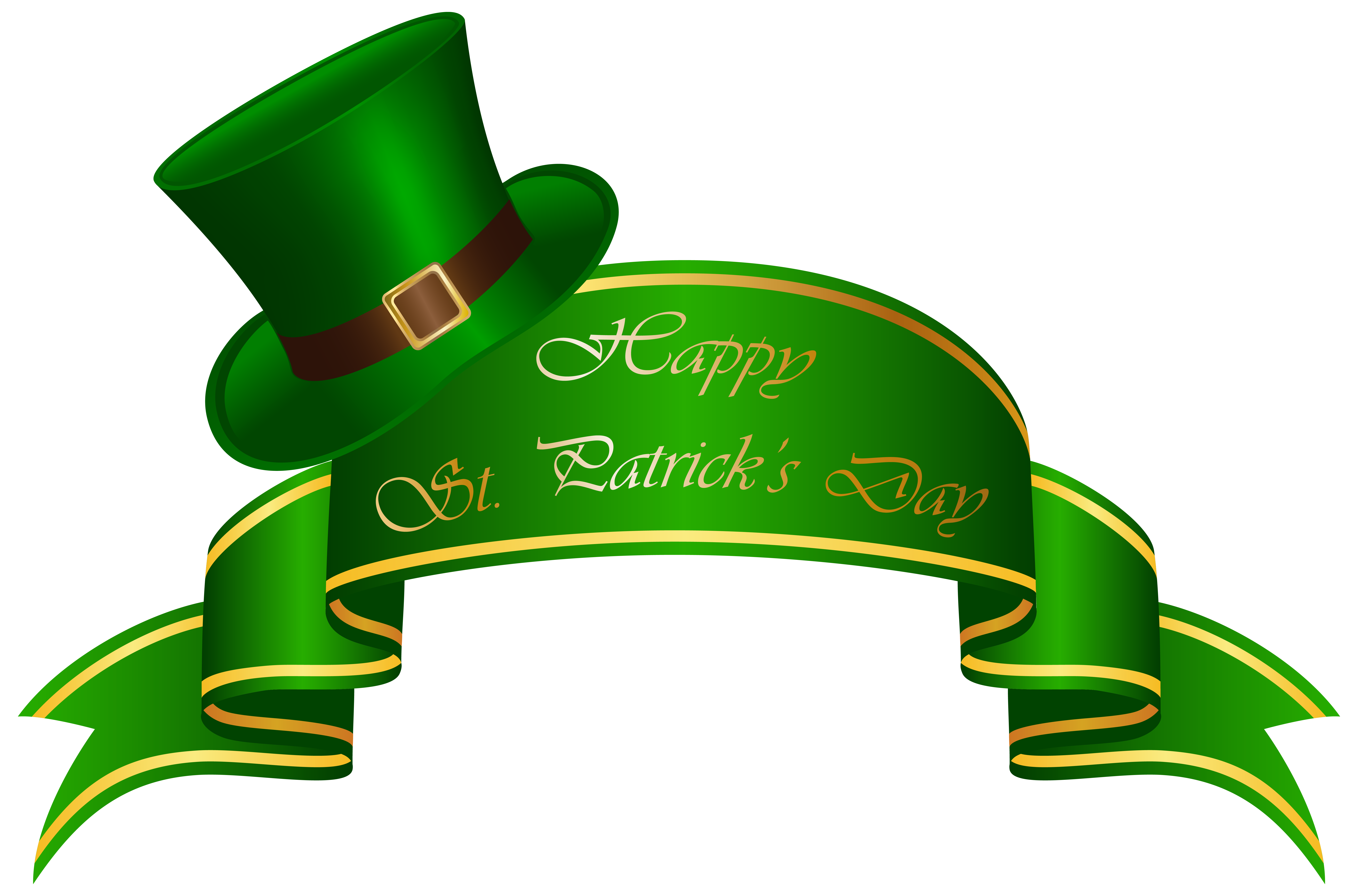 7979x5265 St Patricks Day Banner And Hat Transparent Clip Art Image