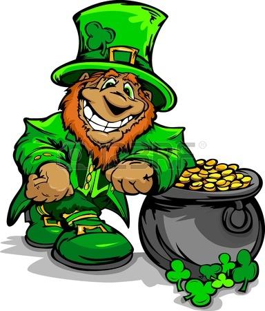 384x450 Happy Cartoon Leprechaun On St Patricks Day Holiday Vector