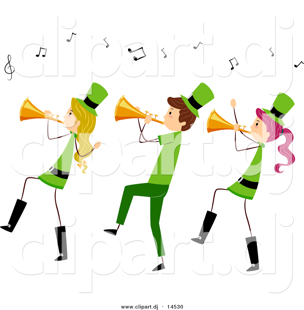1024x1044 Vector Clipart Of A Cartoon St. Patrick's Day Stick People Playing