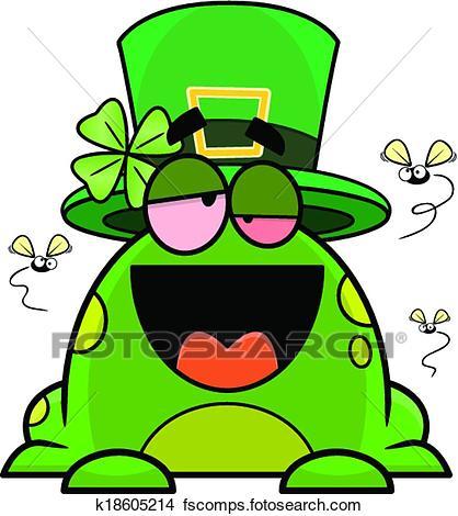 418x470 Clipart Of Drunk Cartoon Frog St. Patricks Day K18605214