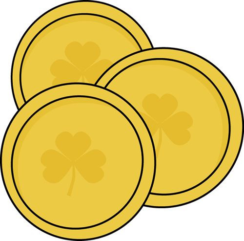 500x493 Gold Saint Patrick's Day Coins Clip Art