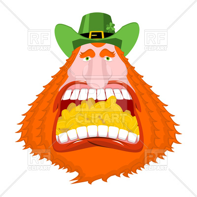 400x400 Leprechaun Gold In Mouth. Crazy Dwarf For St. Patrick's Day
