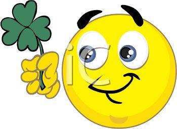 350x255 St Patrick's Smiley Holding A Shamrock
