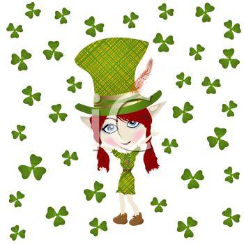 350x350 Clip Art Illustration Of A St. Patrick's Day Leprechaun With Shamrocks