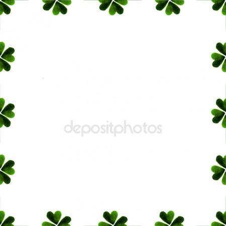 450x450 Green Clover Border, Frame Isolated On White Background. Ireland
