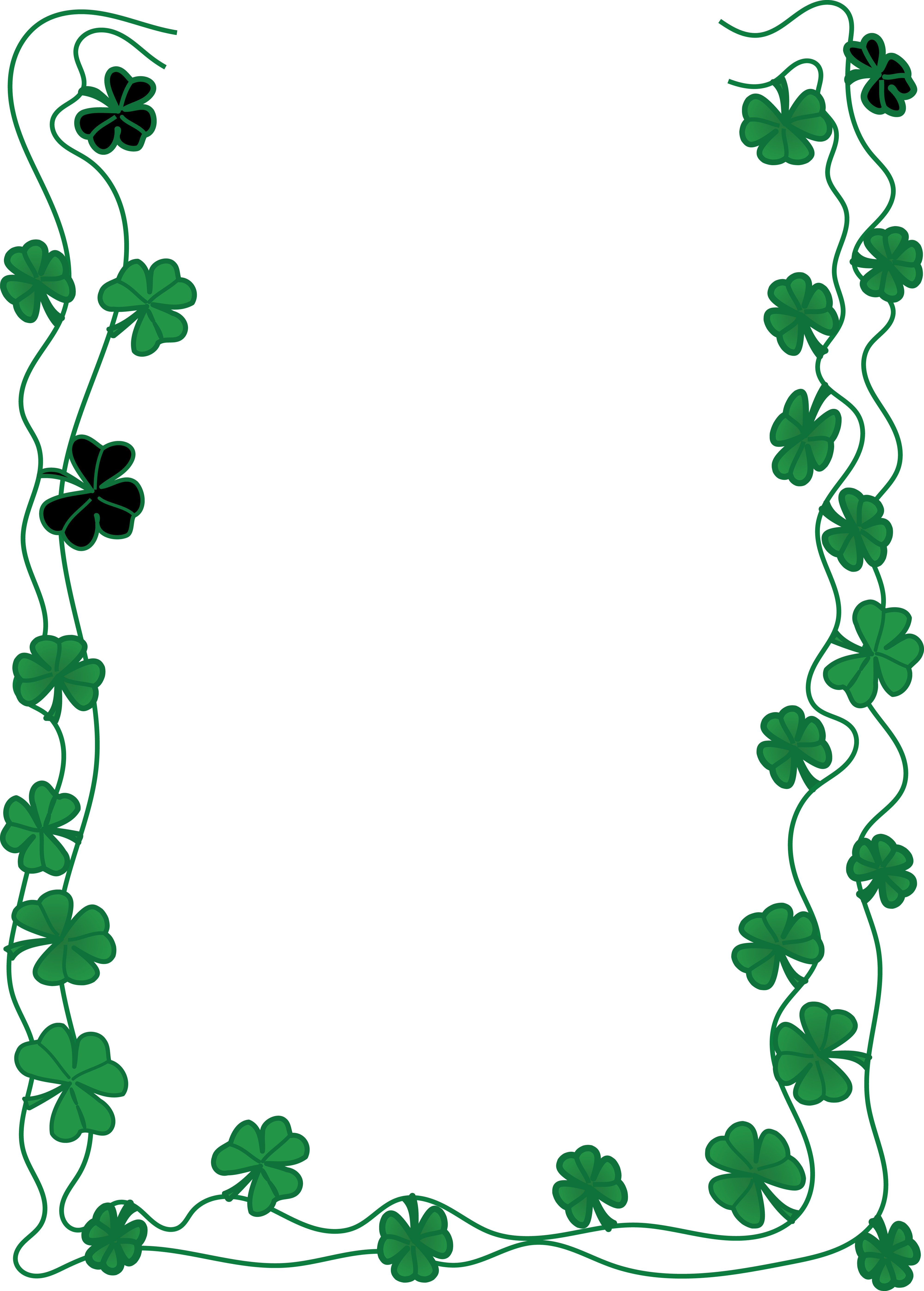4000x5589 Clipart Of A St Patricks Day Shamrock Clover Border