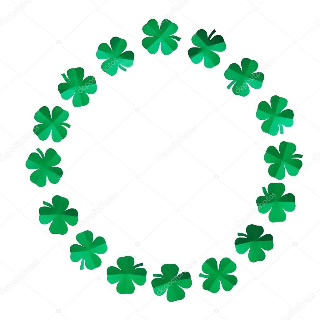 1024x1024 Emerald Green Paper Clover Shamrock Leafs Wreath Border Frame