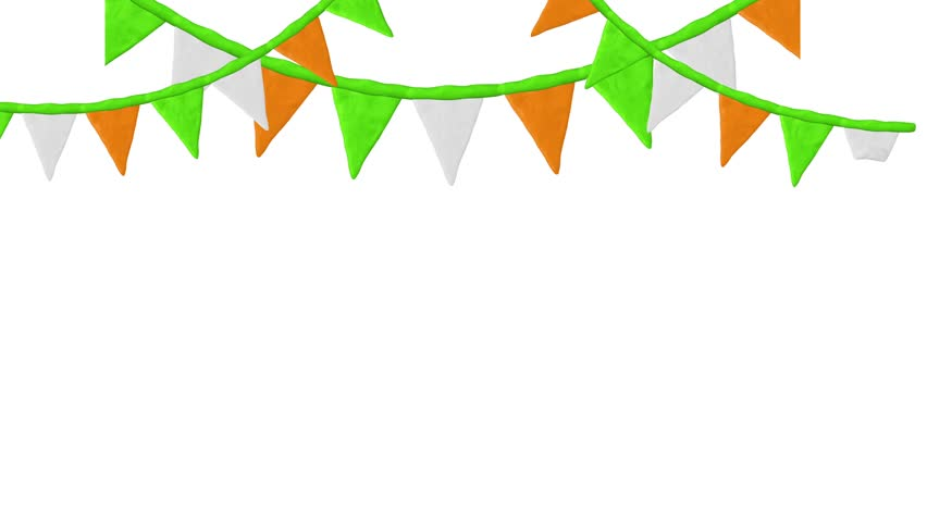 852x480 Garlands With Flags. St. Patrick's Day. Alpha Matte. 4k Stock