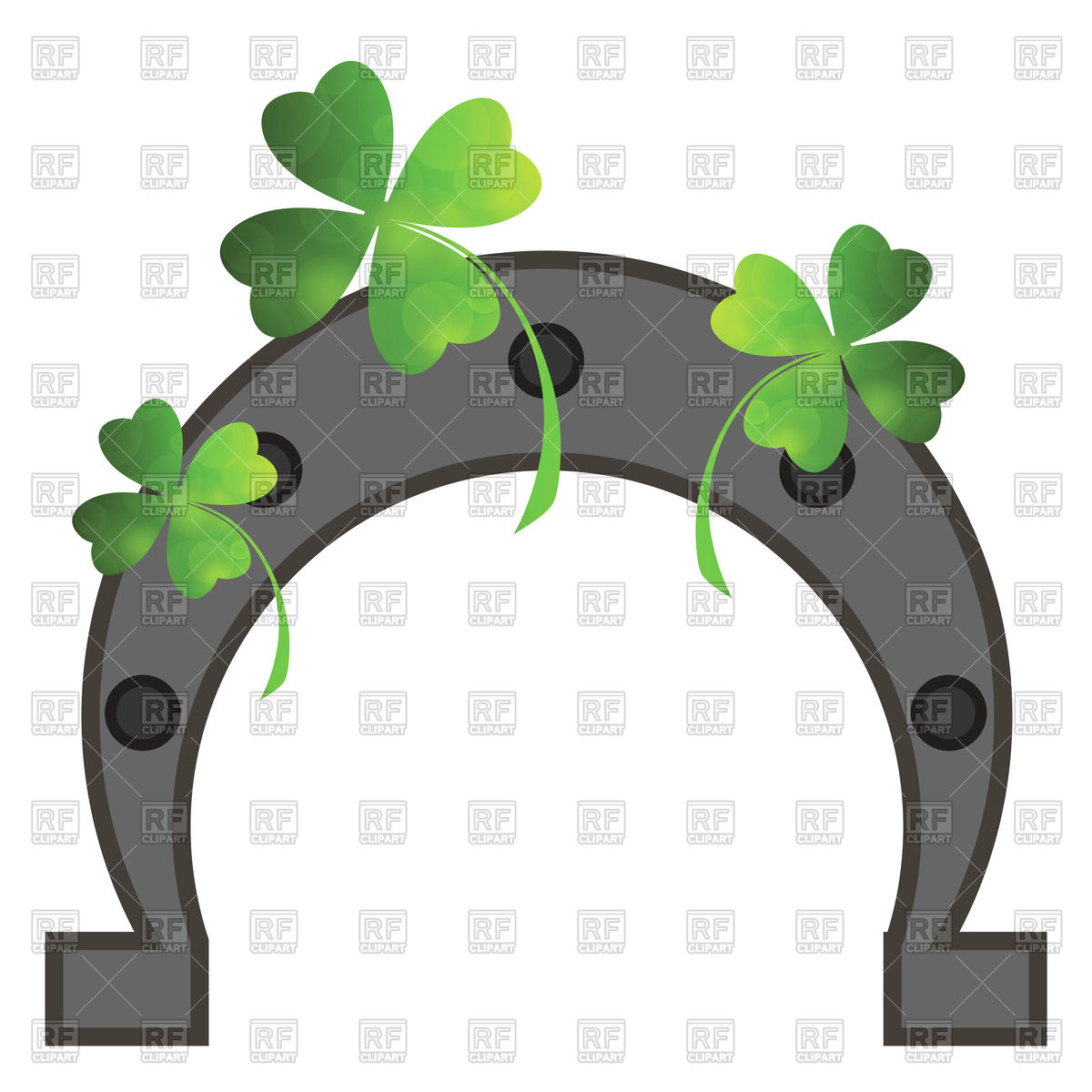 1200x1200 Green Clover Leaves And Horseshoe