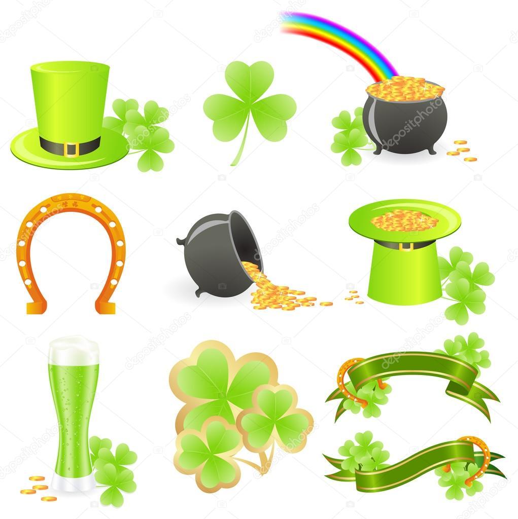 1021x1024 St. Patrick's Day Symbols Stock Vector Nataly Nete
