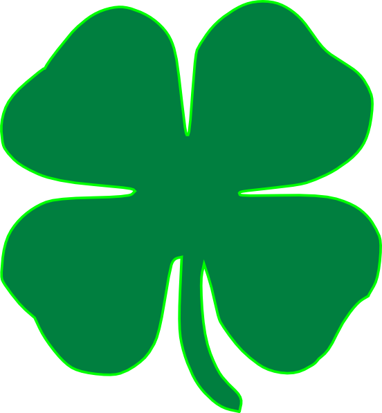 552x597 Green Four Leaf Clover Shamrock St Patrick's Day