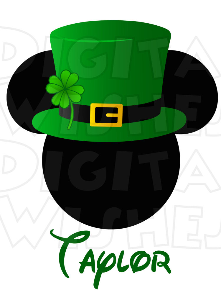 750x1000 St. Patrick's Day Irish Mickey Mouse Ears Head With Top Hat