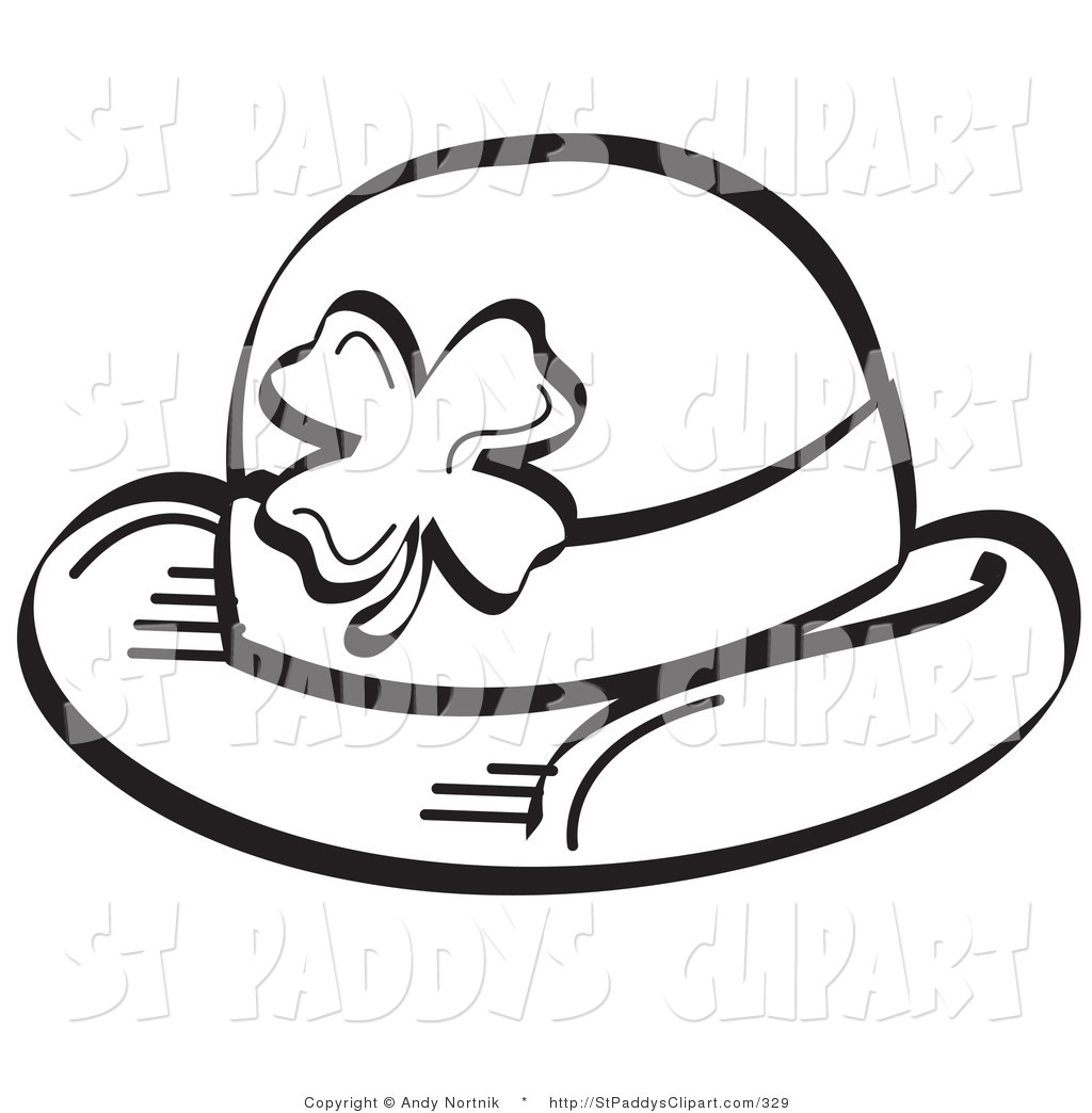 1024x1044 Vector Clip Art Of A St Patricks Day Black And White Shamrock Hat