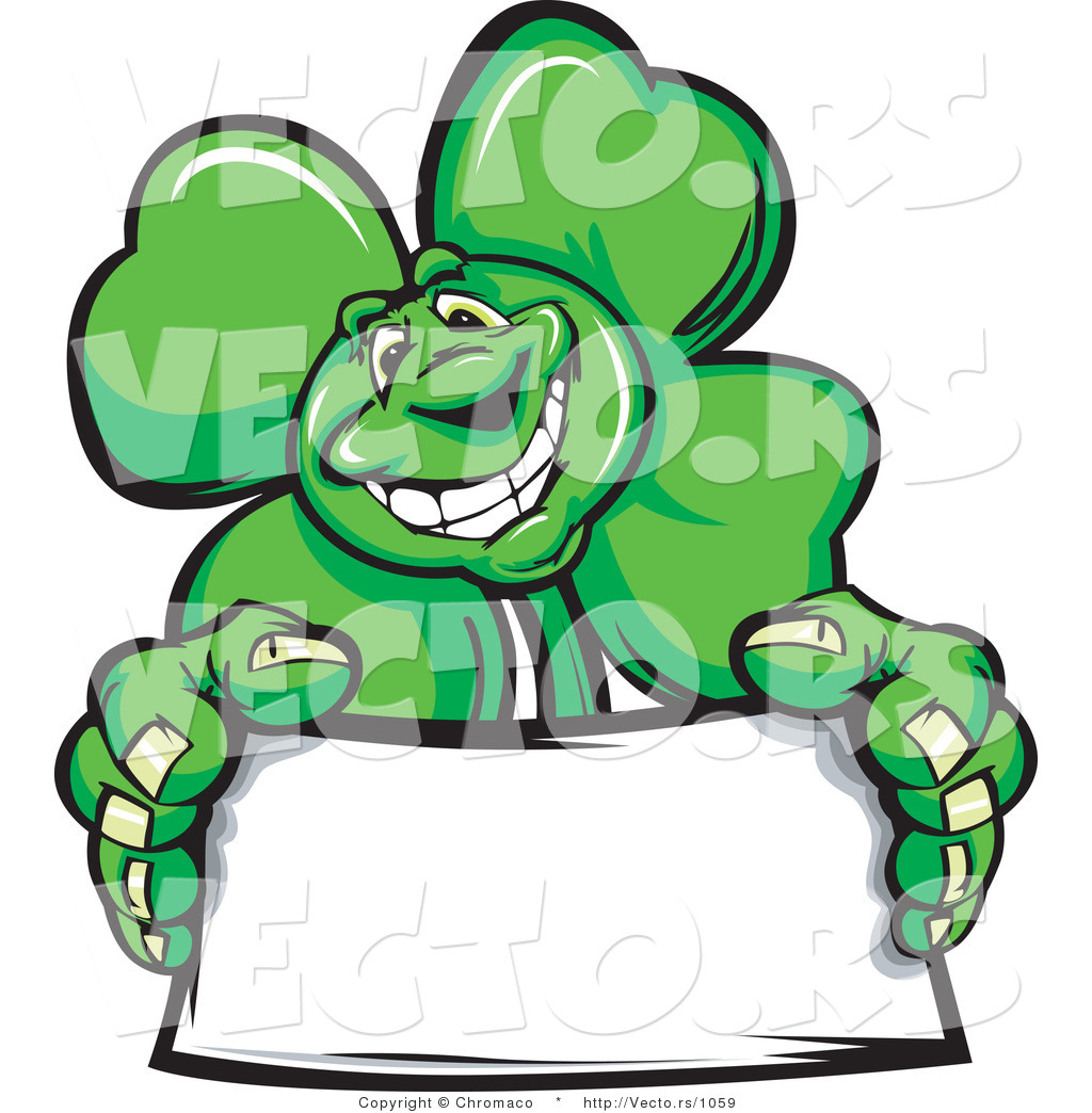1024x1044 Cartoon Vector Of A St. Patrick's Day Shamrock Clover Mascot