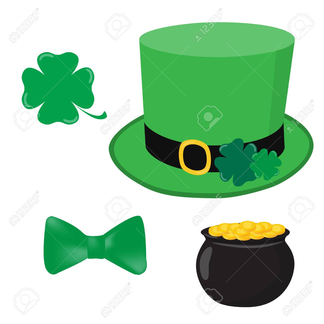 1300x1300 Leprechaun Set. Green Hat Cylinder With Pot Of Gold Green Bow