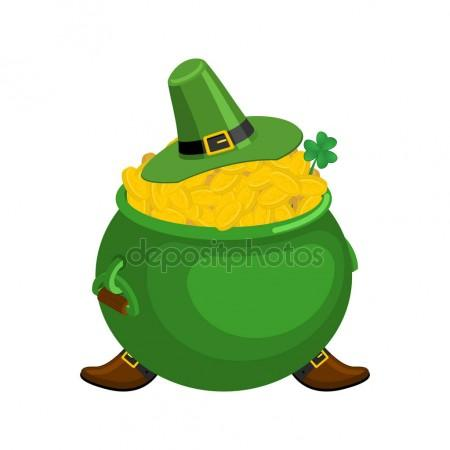 450x450 St. Patrick's Day. Leprechaun Green Hat And Pot Of Gold. Magic D