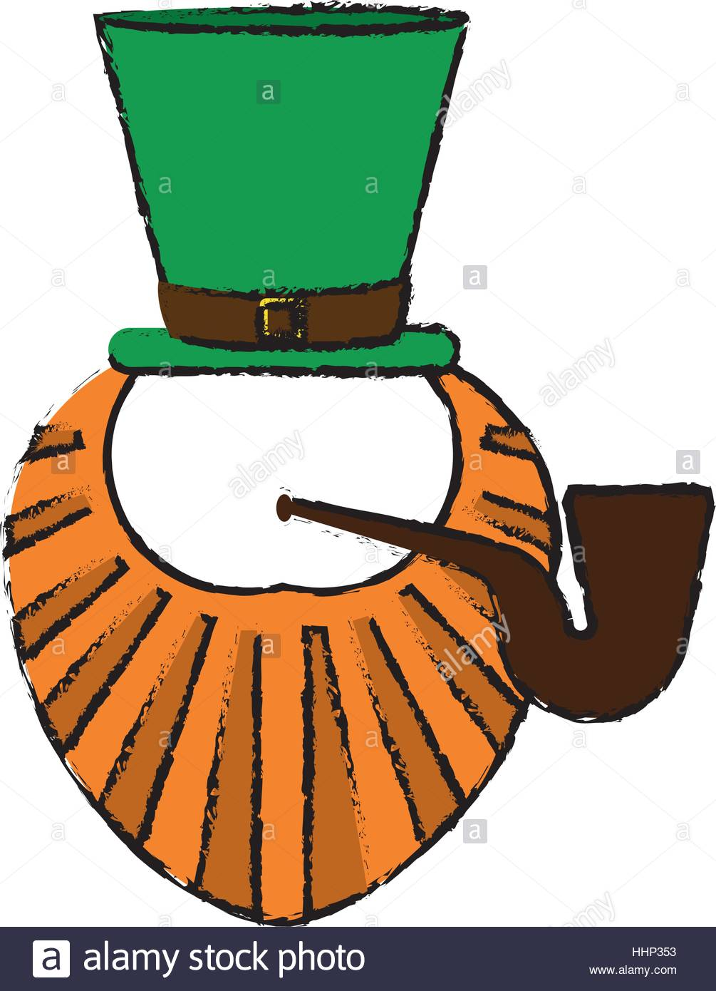 1005x1390 Cartoon St Patrick Day Leprechaun Beard Hat And Tobacco Pipe Stock