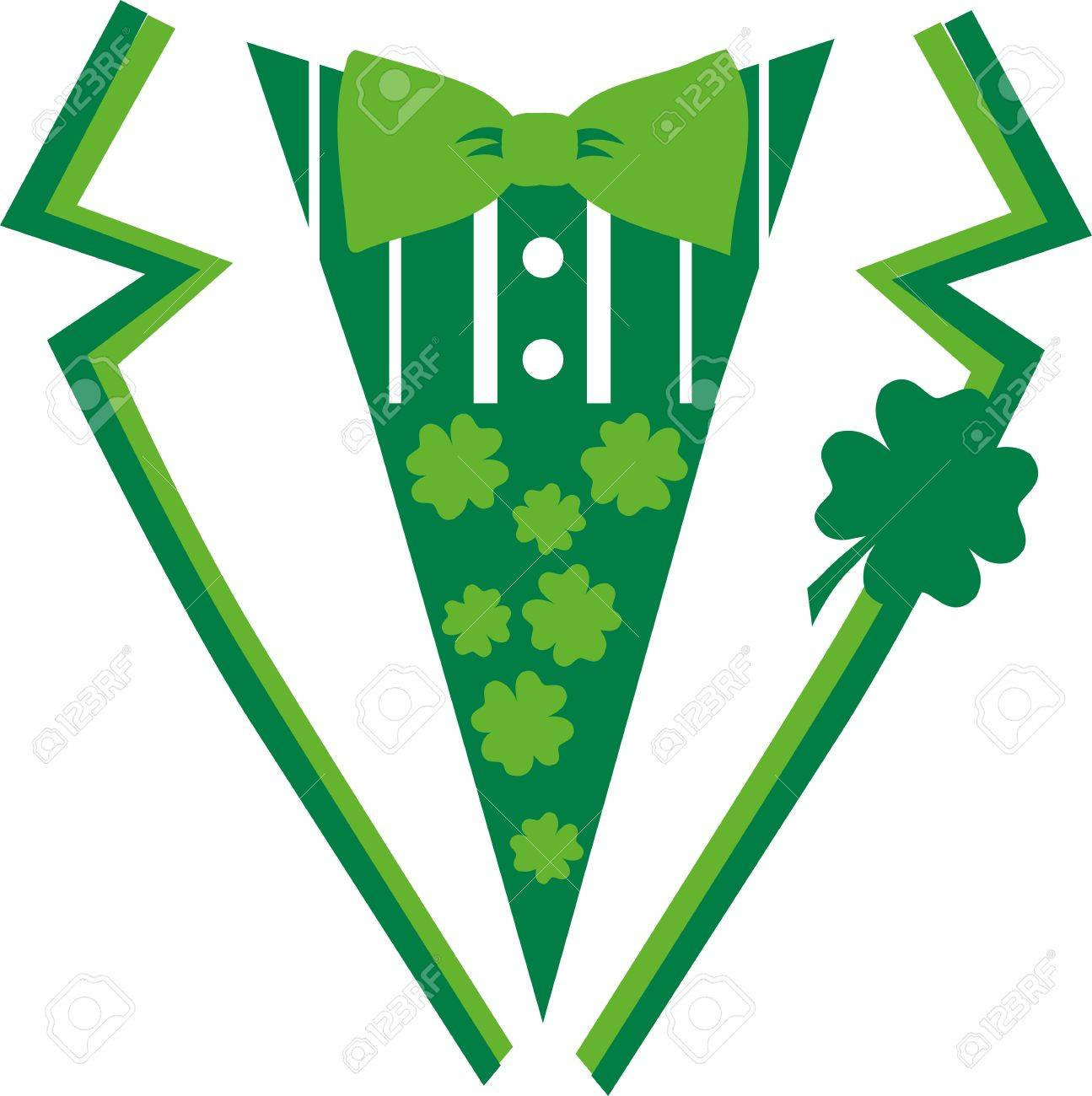 1295x1300 Green St. Patrick's Day Suit With Bow Tie Royalty Free Cliparts